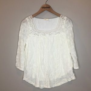 Meadow Rue White Crochet 3/4 Sleeve Blouse - M